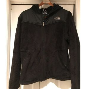 Black Fuzzy Hooded North Face Jacket